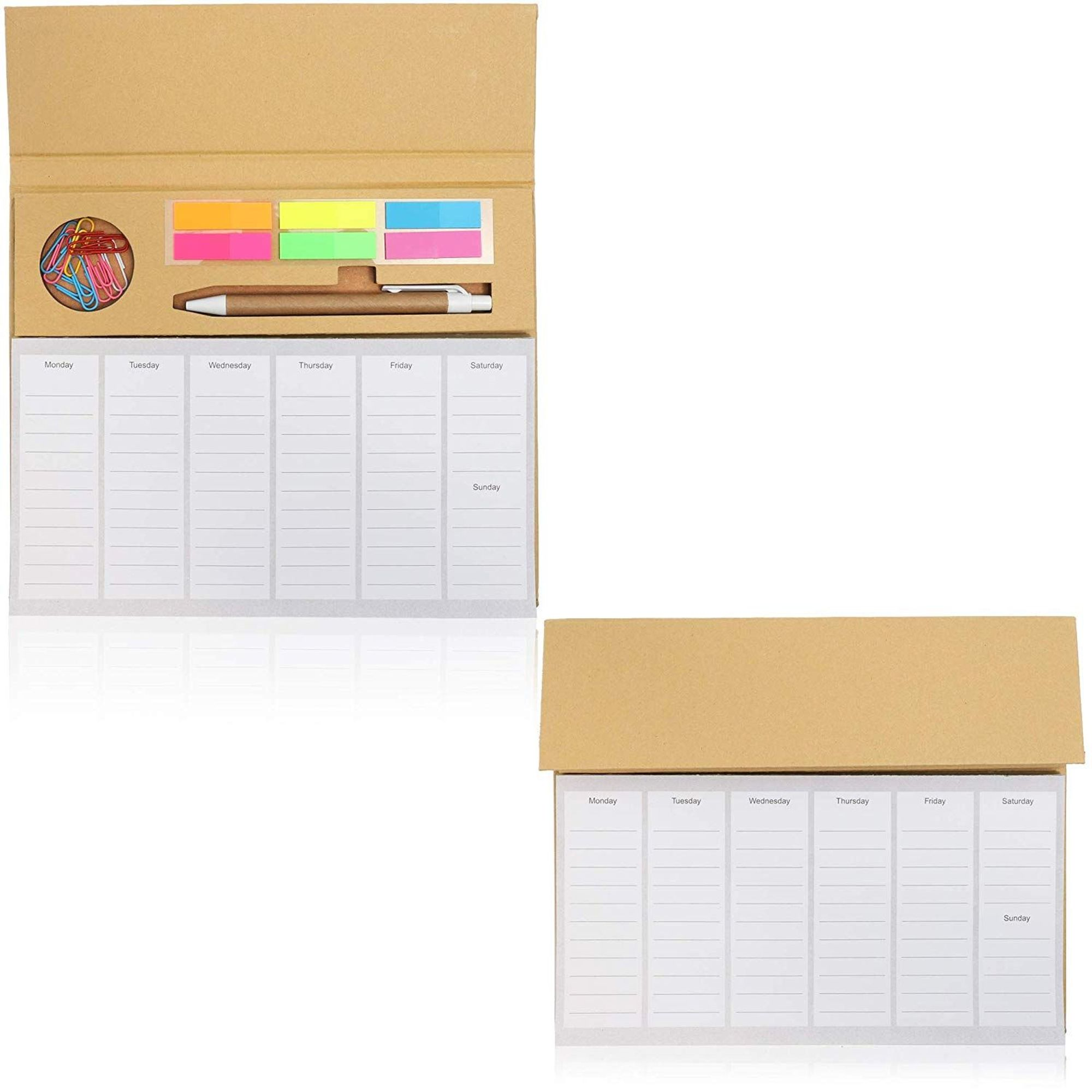 2 Pack Desktop Weekly Planner Pad Calendar With To Do List And Sticky Notes Notepad Organizer Schedule Includes 10 Paper Clips 1 Ball Pen Walmart Com Walmart Com