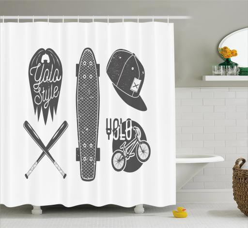 How To Create A Greyscale Bathroom: YOLO Shower Curtain, Baseball Bat Skateboard And Bicycle