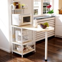 """AUGIENB 4-Tier Kitchen Standing Bakers Rack Utility Microwave Oven Stand Shelf Rack Storage Organizer Workstation with 6 Hooks, 43.3"""" x 19.68"""" x 50"""""""