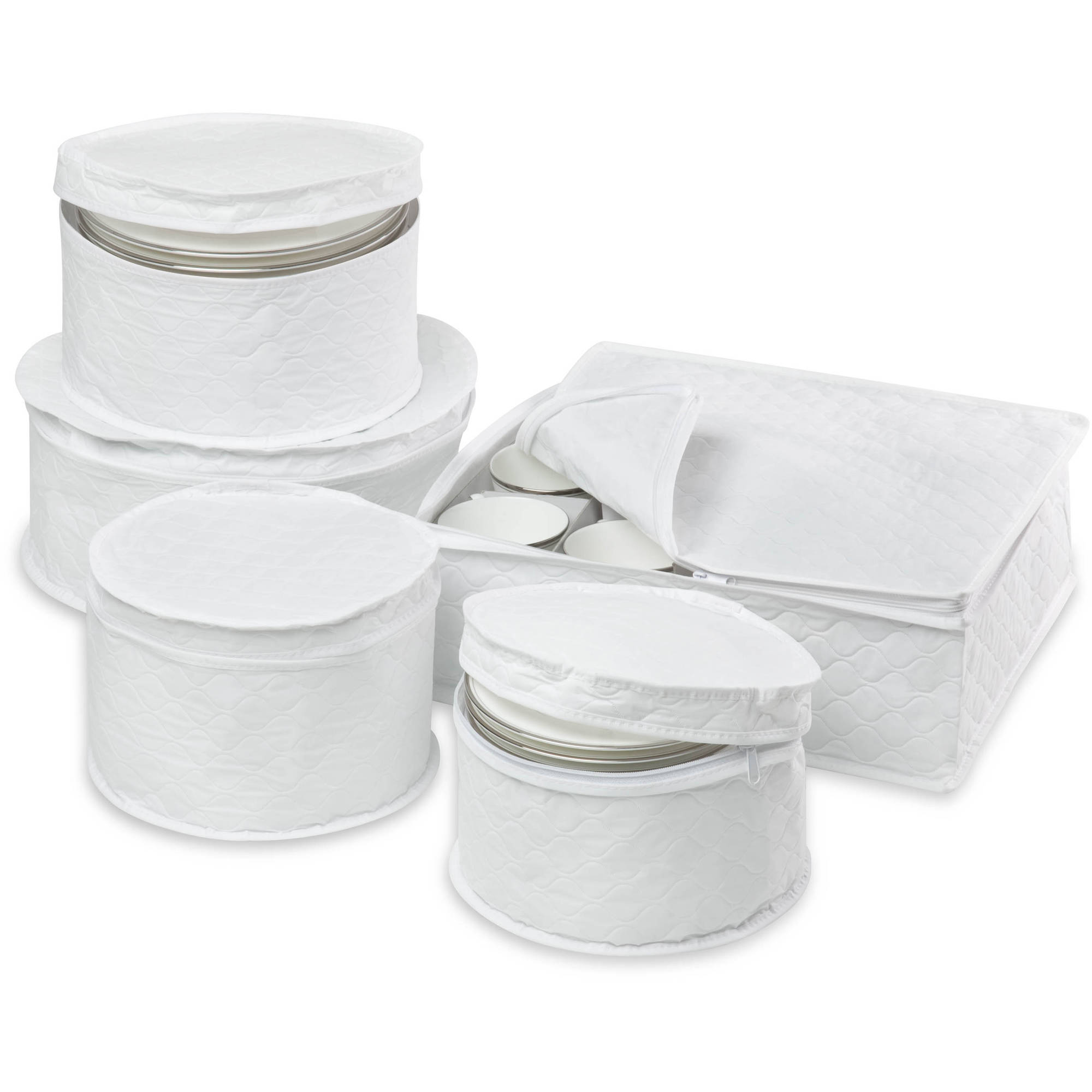 Honey Can Do 5pc Dinnerware Storage Set with Stay-Closed Cases White  sc 1 st  Walmart & Dinnerware u0026 Serving Storage - Walmart.com