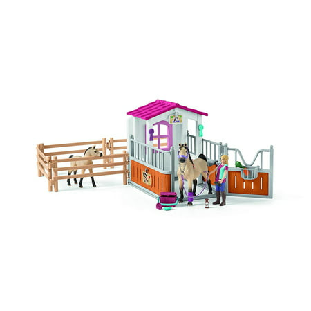 Schleich Horse Club, Horse Stall with Arab Horses and Groom Toy - Plastic Toy Horses