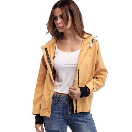 Front Zipper Gusset Pocket (Yellow Short Front Zipper Tops Bomber Jackets for Juniors, Girl's Baseball Blouse Pullover Hoodies Jackets for Juniors, Front Pockets Long Sleeve Outwear Coats for Girls,)