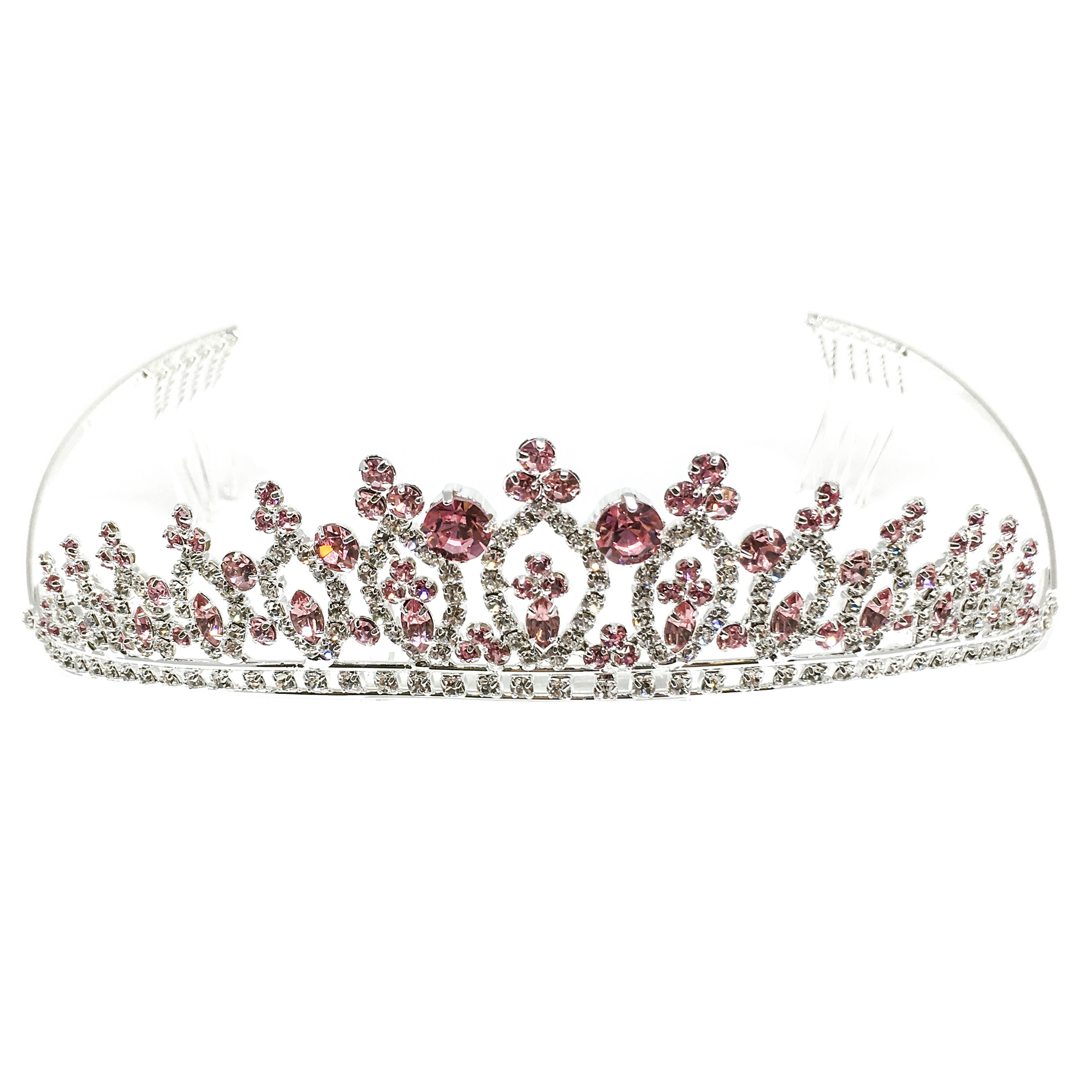 Kate Marie CWN-DH1900 Rhinestone Crown Tiara Headband in Silver
