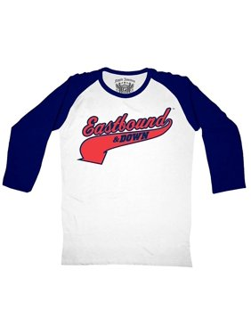 b12957fa Product Image Eastbound & Down Logo Kenny Powers 55 Jersey White and Navy  Baseball Raglan T-Shirt