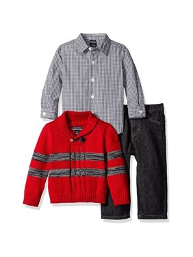 Nautica Boys 12-24 Months 3-Piece Sweater Pant Set(Red 12 Months)
