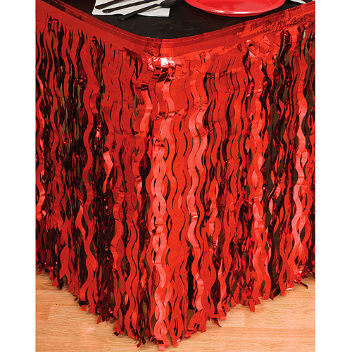 Wavy Foil TableSkirt, Red