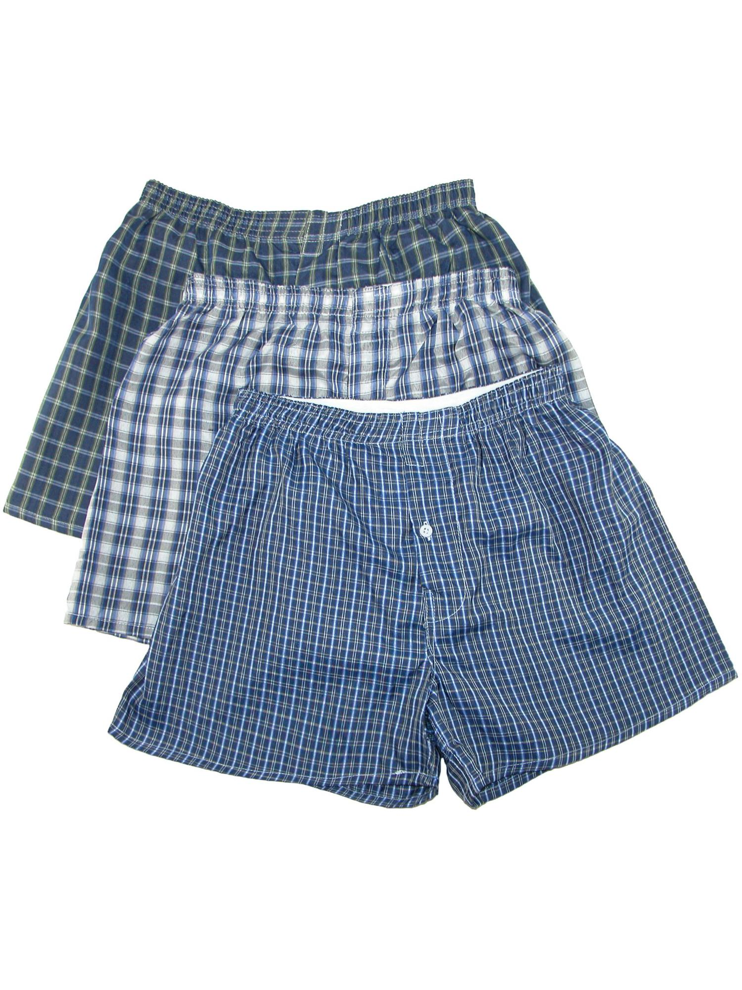 Men's Big and Tall Madras Plaid Boxer Shorts (Pack of 3),  Multi