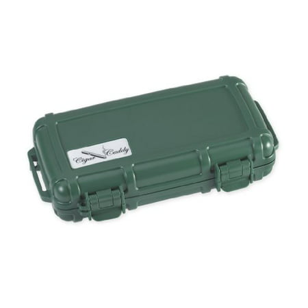 Cigar Caddy 3400 Green 5 Cigar Waterproof Travel Humidor, Country Club Green