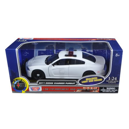 Bar Dodge Charger (2011 Dodge Charger Pursuit Police Car White w/Flashing Light Bar,Front,Rear Lights, 2 Sounds 1/24 Diecast Model Motormax )