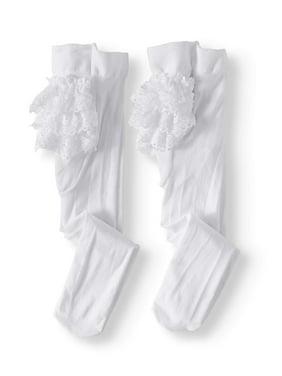 Jefferies Socks Baby Girls Lace Ruffle Rhumba Tights, 2-Pack