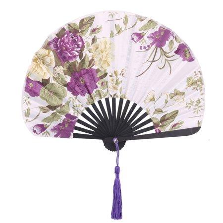 Summer Bamboo Frame Floral Print Chinese Craft Tassel Hand Folding Fan Purple