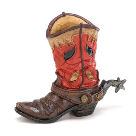 Western Cowboy Boot Vase Planter For Western Decor,Weddings,Functions, Hand painted resin boot vase By Burton Burton