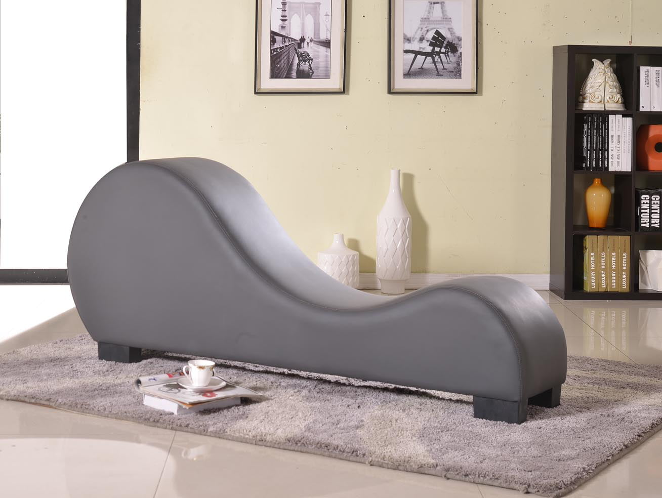 Faux Leather Yoga Stretch Relaxation Chaise - Walmart.com ...