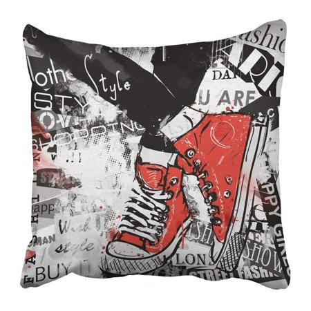BPBOP Paris Pair of Sneakers Grunge Vintage Youth Boots Canvas Casual Fashioned Footwear Pillowcase Pillow Cover 20x20 inches