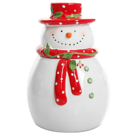 "Jolly Plenitude 7.5"" Snowman Cookie Jar - Hand Painted - Stoneware"