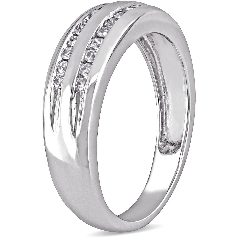 Miabella 1 6 Carat T W Double Row Diamond 10kt White Gold Wedding