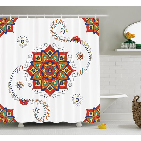 Lotus Shower Curtain Flower With Abstract Modern Style Mandala Influences Symmetric Folk Pattern Fabric Bathroom Set Hooks Multicolor