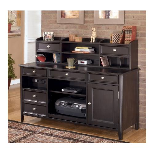 Ashley Carlyle H3714648SET Home Office Desk Set With Large Credenza And  Short Hutch In Black Finish