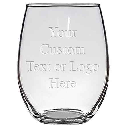 Custom Monogrammed Personalized Stemless Wine Glasses - Bridesmaid Gifts, Laser Engraved Customized for Free