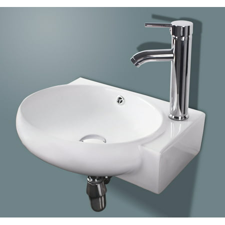 White Porcelain Wall Mount Ceramic Bathroom Vanity Vessel Sink w/ Chrome Faucet (White Bathroom Vessel Sink)