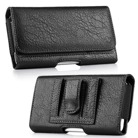 Black Leather Pouch Belt Loop and Belt Clip Wallet Case with Credit Cards and Coins Slot for BlackBerry DTEK60, Key2 LE, Key2, Motion