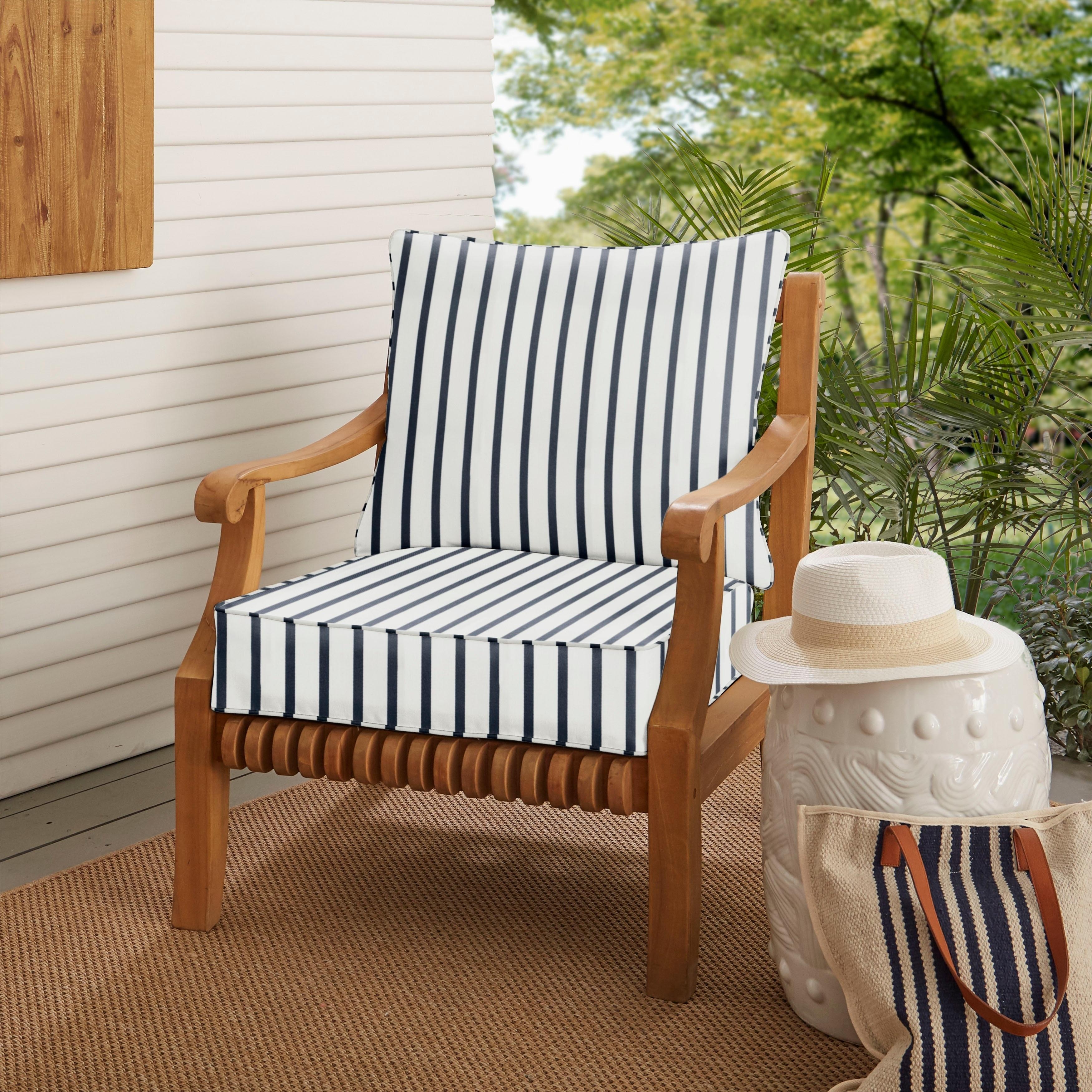 Humble and Haute Sunbrella Lido Indigo Indoor/ Outdoor Chair Cushion and Pillow Set