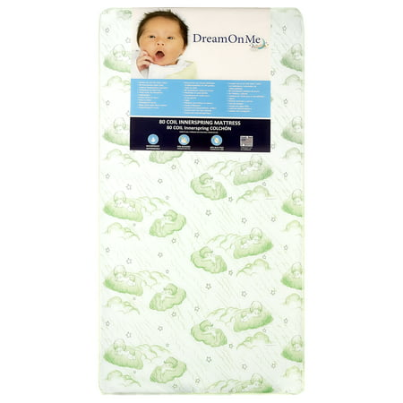 "Dream On Me, Twilight 5"" Coil Spring Crib And Toddler Mattress, Green Cloud"