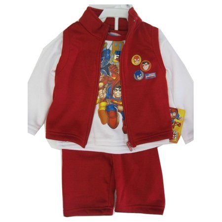 Justice Outfits (s Baby Boys Red White Justice League Vest Shirt 3 Pc Pants Set)