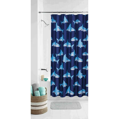 Mainstays Kids Sharks Coordinating Fabric Shower Curtain ()