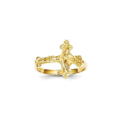 14k Yellow Gold Satin & D/C Crucifix Ring