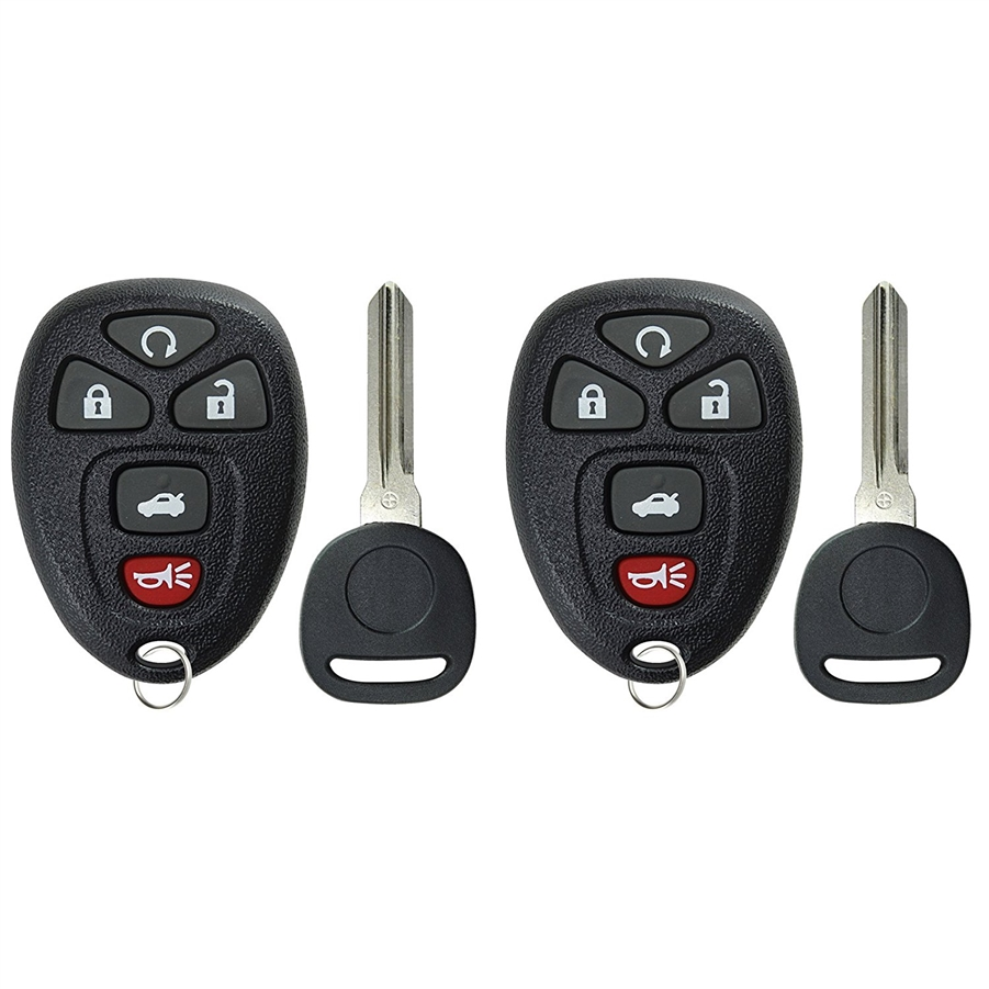 2 PACK KeylessOption Keyless Entry Remote Control Car Key Fob Replacement OUC60270, OUC60221 with Transponder Key for Buick Chevy Cadillac