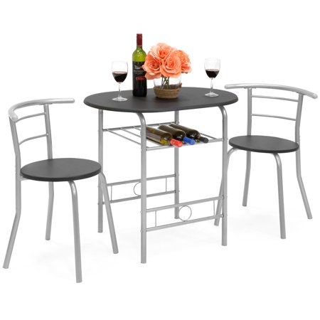 3 Piece Solid Pine Table (Best Choice Products 3-Piece Wooden Kitchen Dining Room Round Table and Chairs Set w/ Built In Wine Rack (Black) )