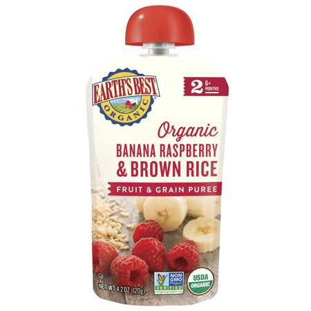 Earth's Best Organic Stage 2, Banana, Raspberry & Brown Rice, 4.2 Ounce (Best Rice In The World)