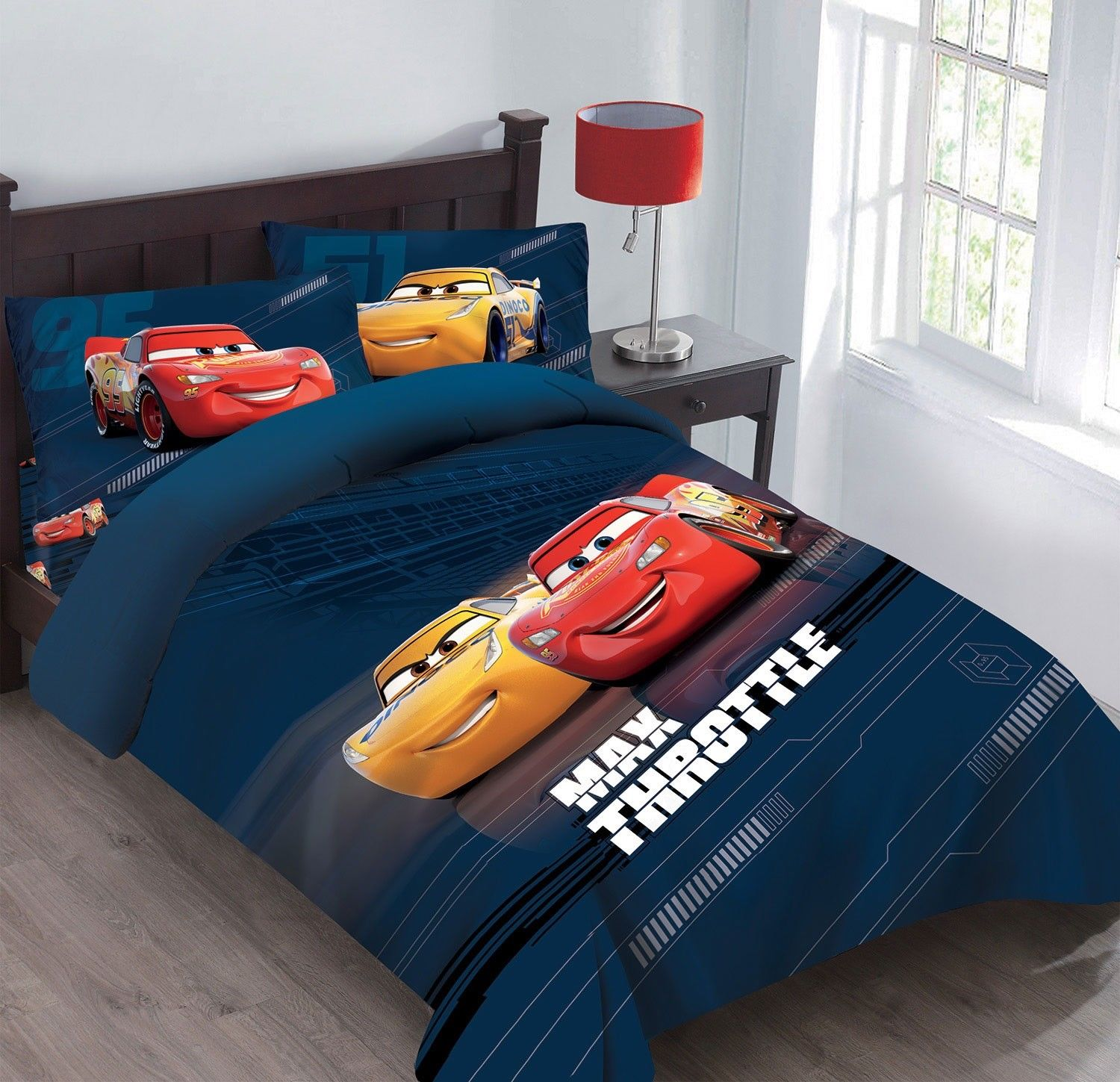 Disney 3pc CARS Max Throttle Bedding Set, Licensed Twin Comforter W/Fitted Sheet And Pillowcase