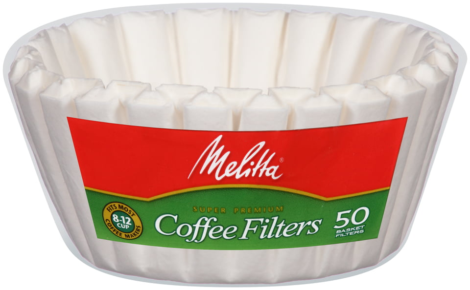 Melitta White Paper Basket Coffee Filters 8-12 Cup Size 50 ct Bag by Melitta