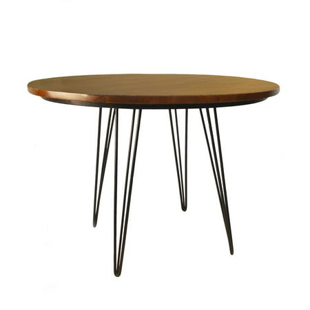 Griffith 42 Inch Round Bent Iron Leg Dining Table Elm Black