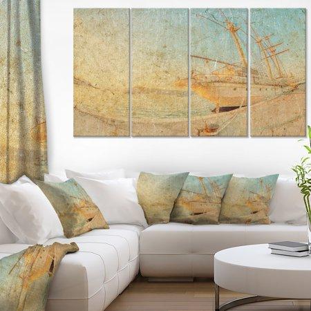 Large Sailing Ship (DESIGN ART Old Sailing Ship in Sunlight - Extra Large Seascape Art Canvas )
