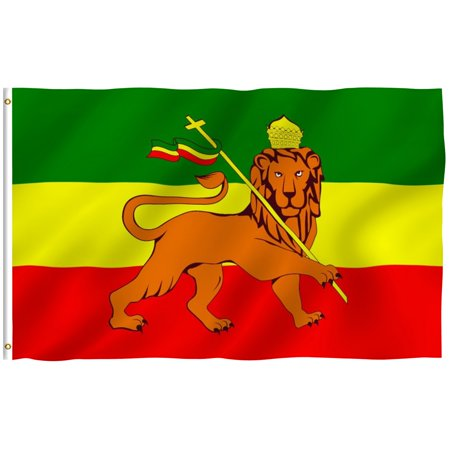 - ANLEY [Fly Breeze] 3x5 Foot Ethiopia Flag with Lion - Vivid Color and UV Fade Resistant - Canvas Header and Double Stitched - Ethiopian Lion of Judah Flags Polyester with Brass Grommets