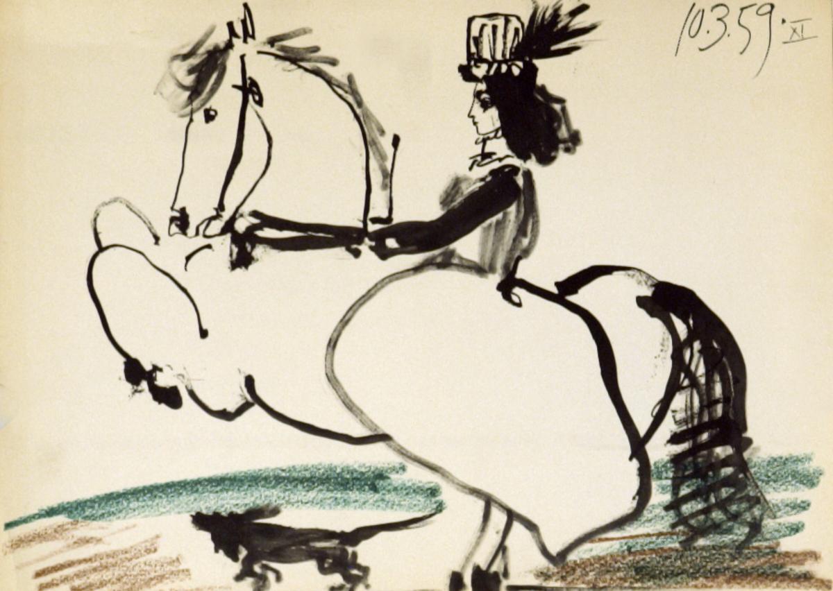 "14.5/"" x 10.5/"" Lithograph 1959 Cubism Detail PABLO PICASSO Man on a Horse"