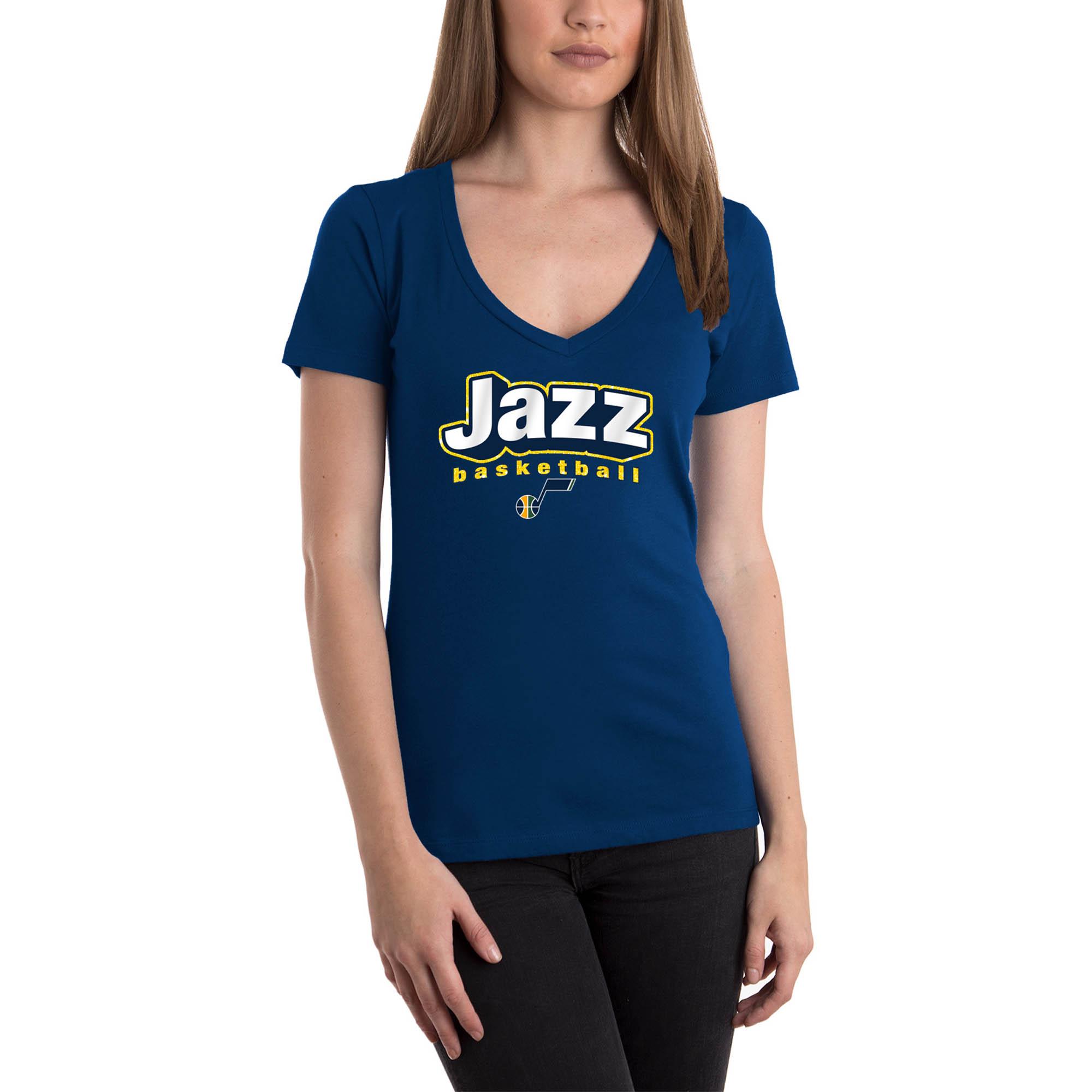 Women's 5th & Ocean by New Era Navy Utah Jazz NBA V-Neck T-Shirt