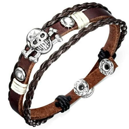 Fashion Triple Wrap Braided Rope Pirate Skull Crossbones Stud Snap Leather Boho Bracelet