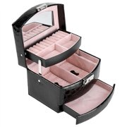 Lv. life Portable Multi-Layer Jewelry Storage Box Ring Earring Necklace Mirror Organizer Case (Black)