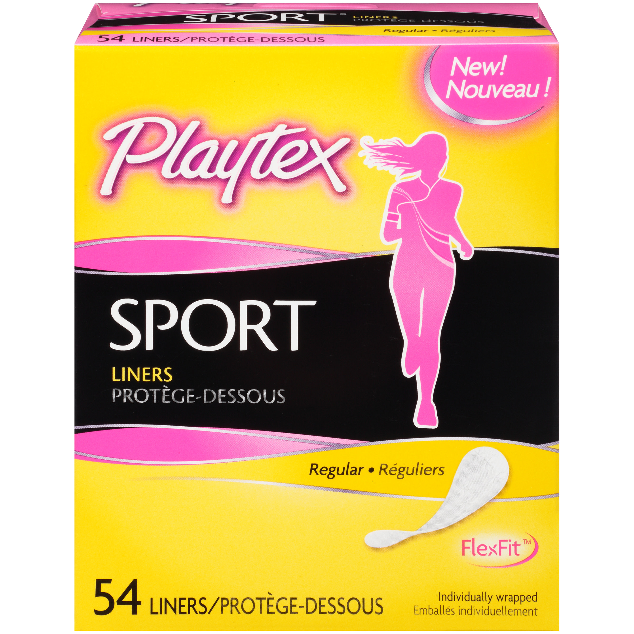Playtex Sport Body Shaped Liners Regular Absorbency - 54 Count