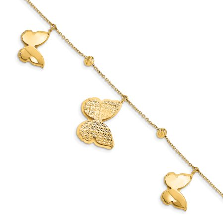 14k Yellow Gold Beads Butterfly Dangle 1 Inch Extension Bracelet 7.5 Gifts For Women For Her 14k Gold Butterfly Bracelet