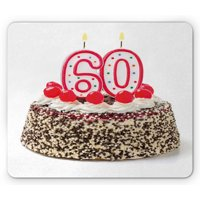 60th Birthday Mouse Pad, Happy Party Cake with Candles Cherries and Tasty Sprinkles Image Photo, Rectangle Non-Slip Rubber Mousepad, Multicolor, by Ambesonne