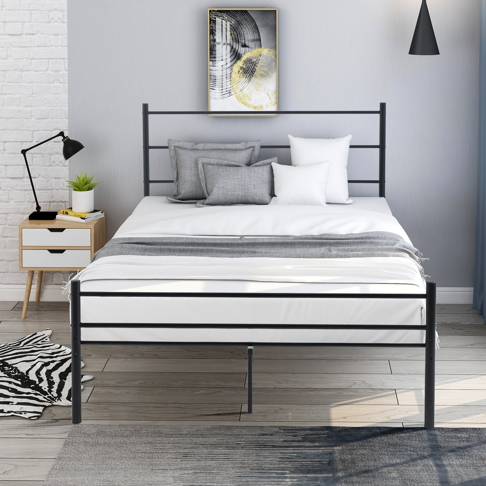 "12"" Full Size Metal Bed Frame, Heavy Duty Bed Frame with ..."