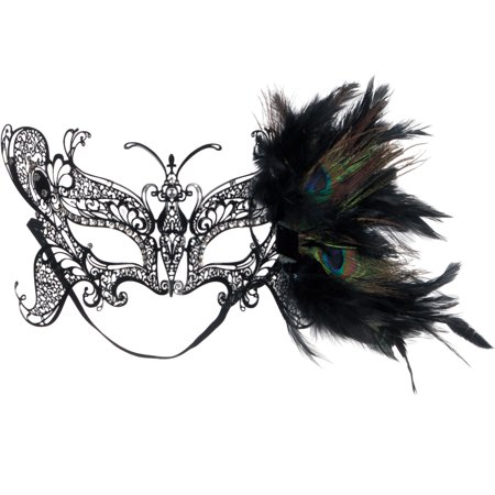 Loftus Jewel Metal Laser Cut Half Mask w Peacock Feathers, One-Size, Black - Peacock Masks