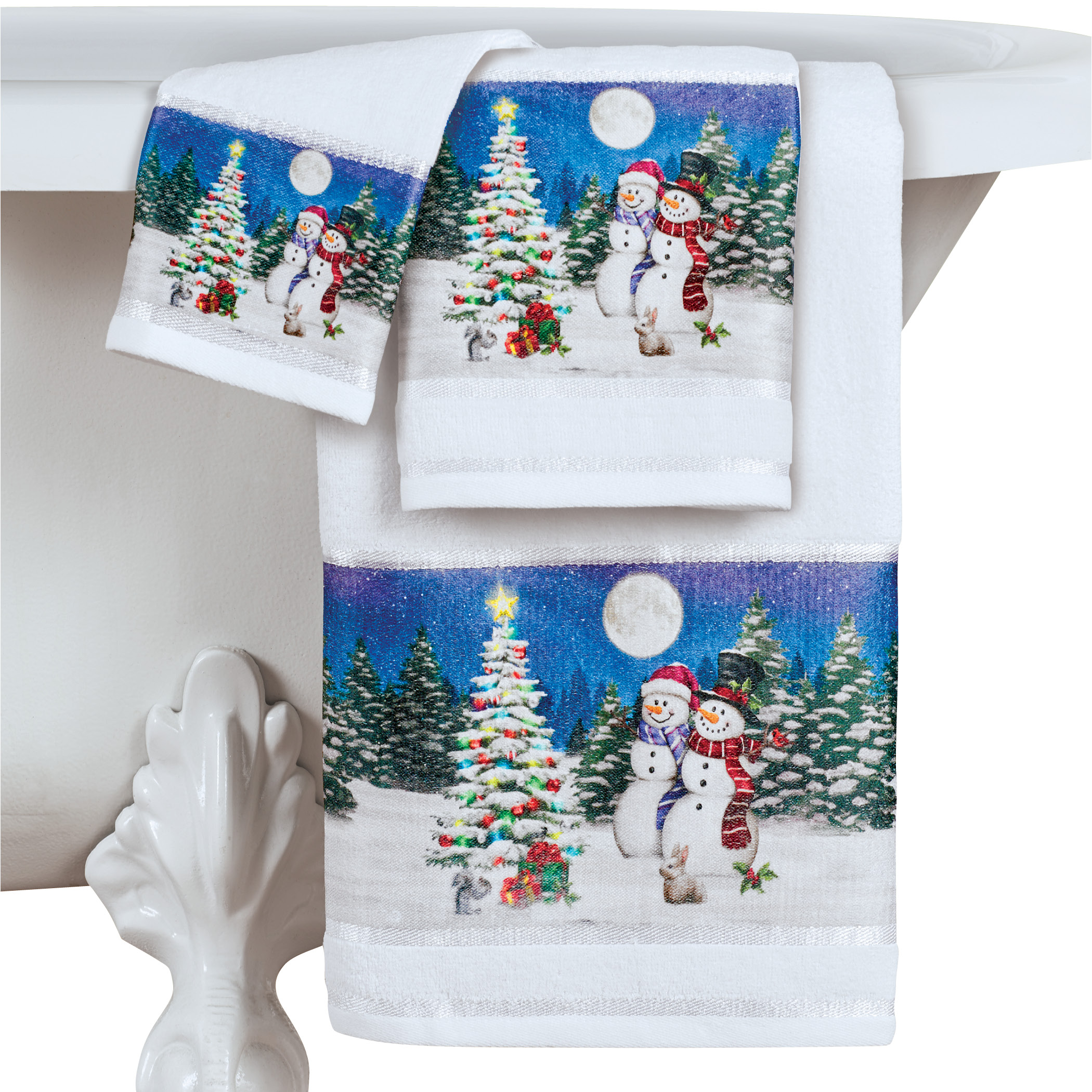 Snowman Couple Holiday Towels - Set of 3 - Festive Holiday ...