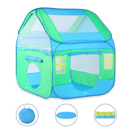 WALFRONT Kids Play Tent Tunnel and Playmat Pop-Up Playhouse Tent Best Gift for Boys Girls Babies and