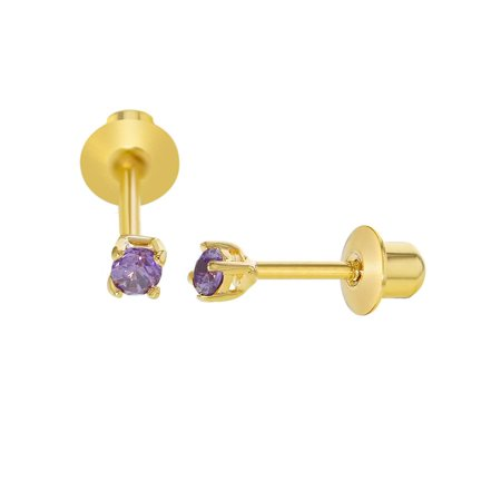 In Season Jewelry 18k Gold Plated Tiny Crystal Screw Back Baby Earrings 2mm (Tiffany Baby Jewelry)